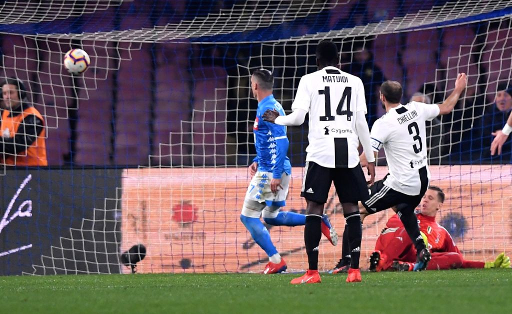NAPOLI, March 4, 2019 - Napoli's Jose Callejon (1st L) scores a goal during a Serie A soccer match between Napoli and Juventus in Napoli, Italy, March 3, 2019. Juventus won 2-1.