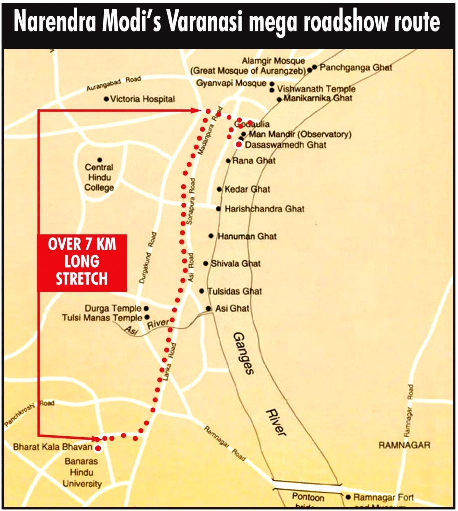Narendra Modi's Varanasi mega roadshow route. - Narendra Modi