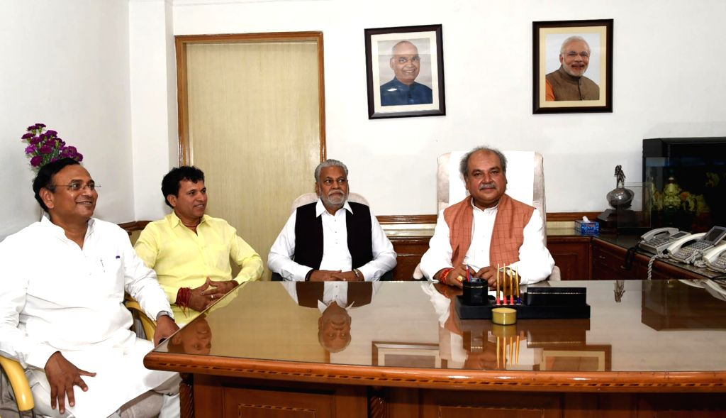 Narendra Singh Tomar takes charge as the Union Minister for Agriculture and Farmers Welfare, in New Delhi on June 1, 2019. Also seen Minister of State for Agriculture and Farmers Welfare ... - Narendra Singh Tomar