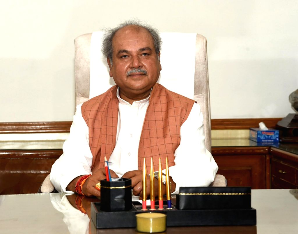 Narendra Singh Tomar takes charge as the Union Minister for Agriculture and Farmers Welfare, in New Delhi on June 1, 2019. - Narendra Singh Tomar