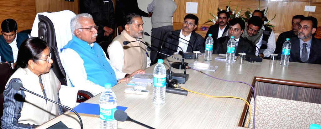 Haryana Chief Minister Manohar Lal Khattar during a meeting with officials in Narnaul, Haryana on Nov 24, 2014. - Manohar Lal Khattar