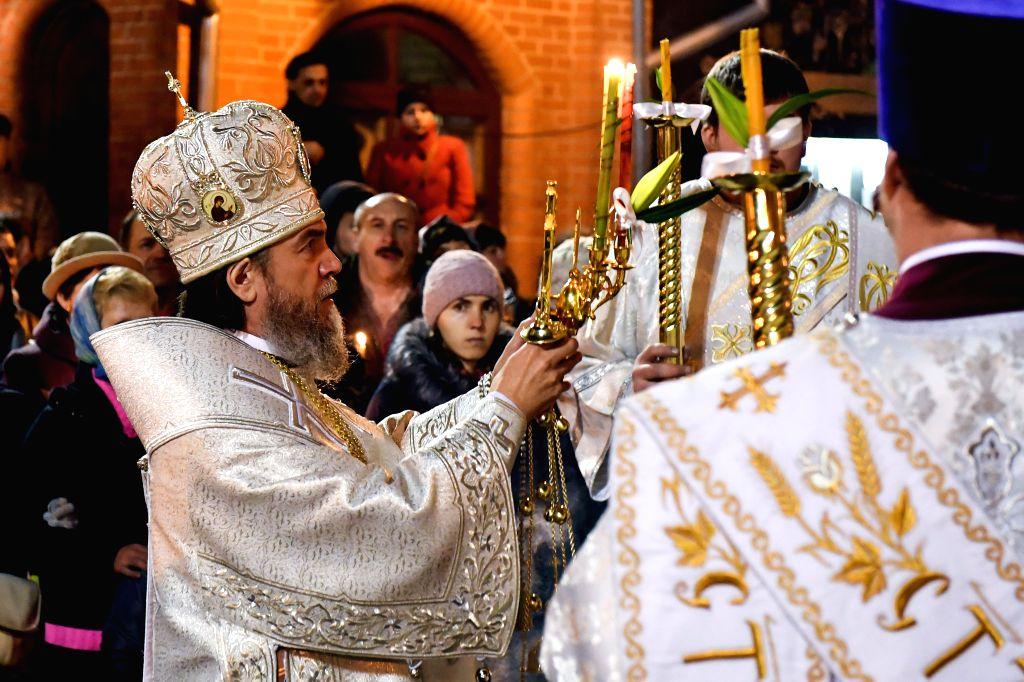 NARVA, April 16, 2017 - Orthodox Easter service is held at Voskresenski cathedral in Narva, eastern Estonia, on midnight of April 15, 2017.