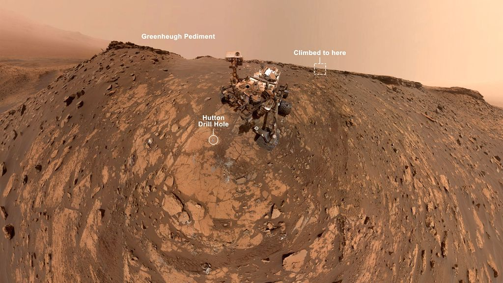 NASA's Curiosity Mars rover recently set a record for the steepest terrain it's ever climbed and in the process, took a selfie, capturing the scene just below ???Greenheugh pediment which is a broad ...