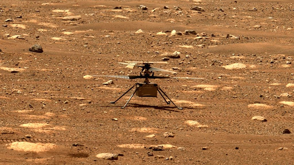 NASA's Ingenuity helicopter unlocked its rotor blades, allowing them to spin freely, on April 7, 2021, the 47th Martian day, or sol, of the mission. Photo: NASA/JPL-Caltech/ASU