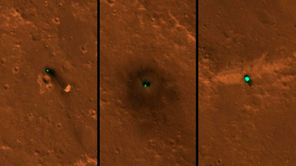 :NASA's InSight spacecraft, its heat shield and its parachute were imaged on Dec. 6 and 11 by the HiRISE camera onboard NASA's Mars Reconnaissance Orbiter. (Photo Credits: ...