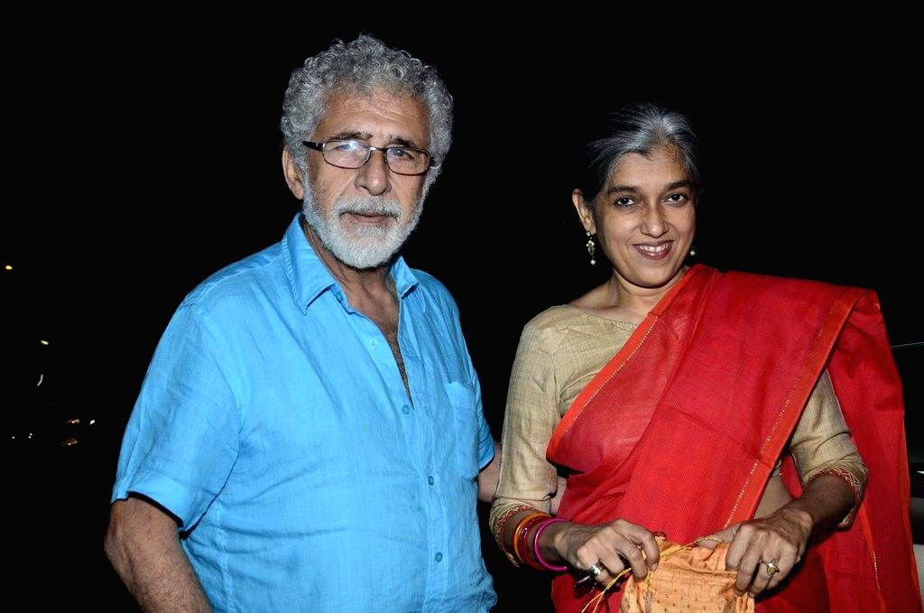 Naseeruddin Shah with his wife and actor Ratna Pathak during the special screening of film Finding Fanny in Mumbai on Sept 7, 2014. - Ratna Pathak and Naseeruddin Shah
