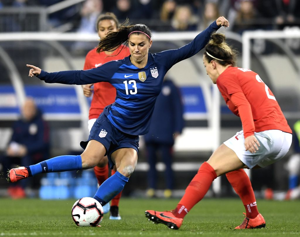NASHVILLE, March 3, 2019 - Alex Morgan (L) of the United States vies for the ball during a SheBelieves Cup women's soccer match against England at Nissan Stadium in Nashville, Tennessee, the United ...