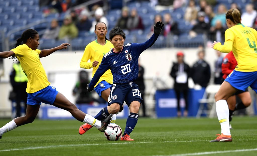 NASHVILLE, March 3, 2019 - Kumi Yokoyama (C) of Japan competes during a She BelievesCup women's soccer match against Brazil at Nissan Stadium in Nashville, Tennessee, the United States, March 2, ...