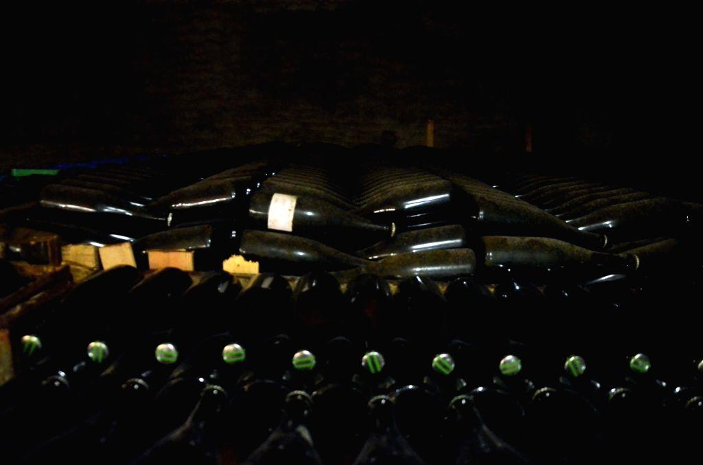 Nasik: A view of wine bottles stored at Grover Zampa winery in Sanjegaon Village of Nasik on Feb 10, 2018. (Photo: Sandeep Mahankal/IANS)