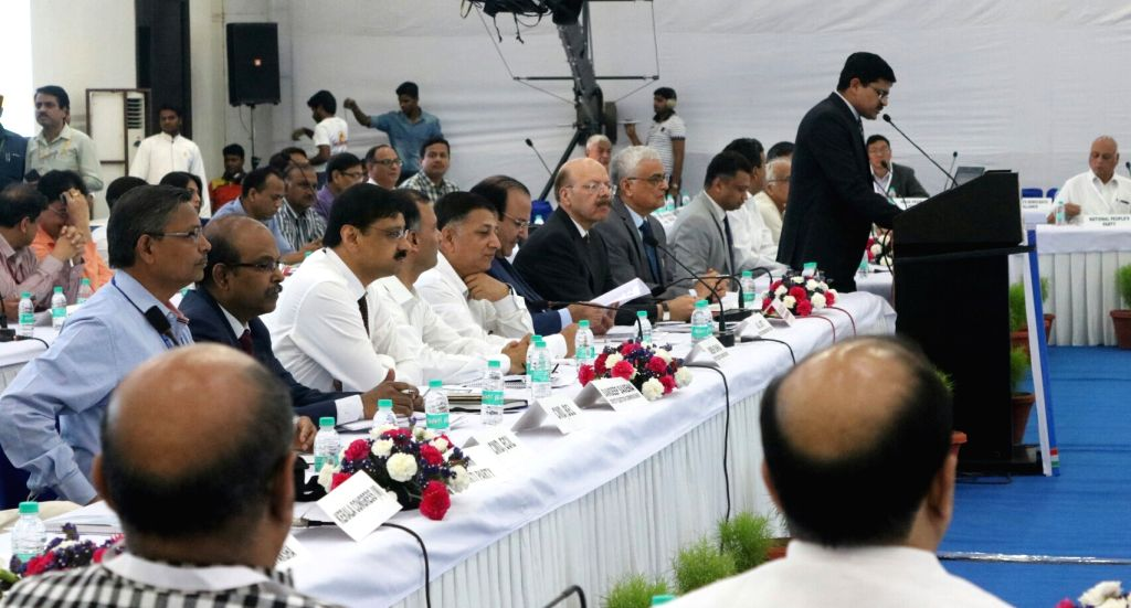 Nasim Zaidi, Chief Election Commissioner A K Joti and O P Rawat during an all party meeting with the Election Commission on the issue of alleged EVM tampering in New Delhi on May 12, 2017.