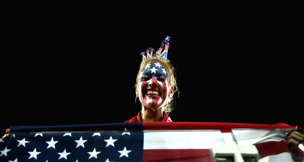 A Fan of U.S. poses before a Group G match between Ghana and U.S. of 2014 FIFA World Cup at the Estadio das Dunas Stadium in Natal, Brazil, June 16, 2014.