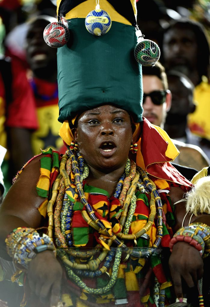 A Ghana's fan is seen before a Group G match between Ghana and U.S. of 2014 FIFA World Cup at the Estadio das Dunas Stadium in Natal, Brazil, June 16, 2014.