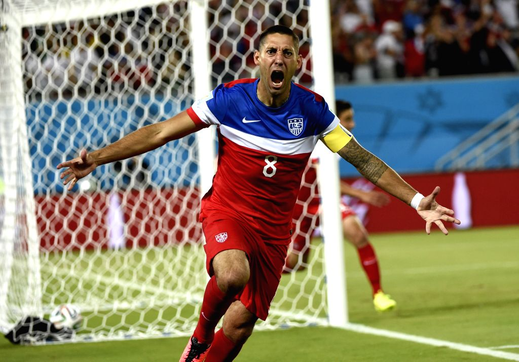 Clint Dempsey of U.S. celebrates for his goal during a Group G match between Ghana and U.S. of 2014 FIFA World Cup at the Estadio das Dunas Stadium in Natal, Brazil, .