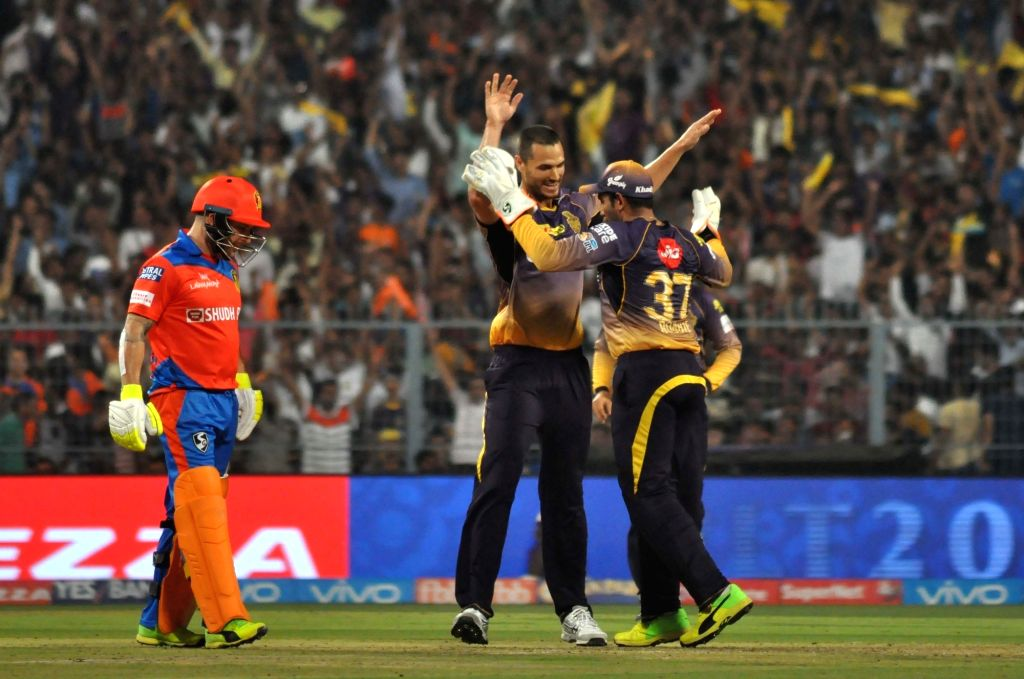 Nathan Coulter-Nile of Kolkata Knight Riders celebrates fall of Aaron Finch's wicket during an IPL 2017 match between Kolkata Knight Riders and Gujarat Lions at Eden Gardens in Kolkata, on ...