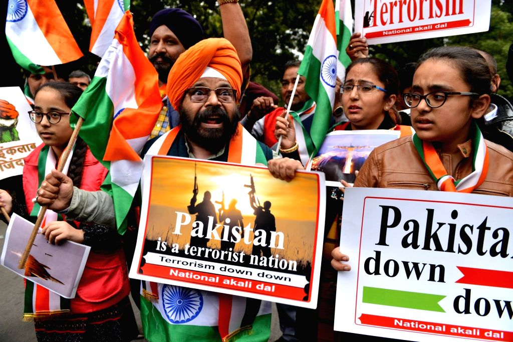 National Akali Dal leader shout slogans against Pakistan after Indian Air Force (IAF) jets hit the biggest training camp of the Jaish-e-Mohammed (JeM) group in Pakistan, eliminating a very ...