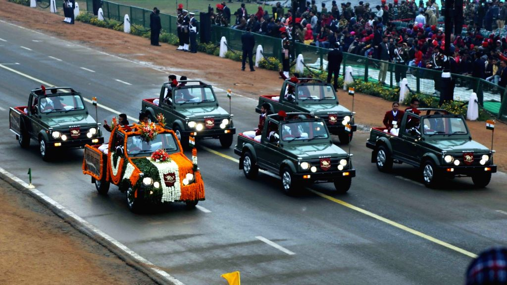 National Bravery Award winner children passing through Rajpath during the full dress rehearsal for the Republic Day Parade-2018, in New Delhi on Tuesday, January 23, 2018.