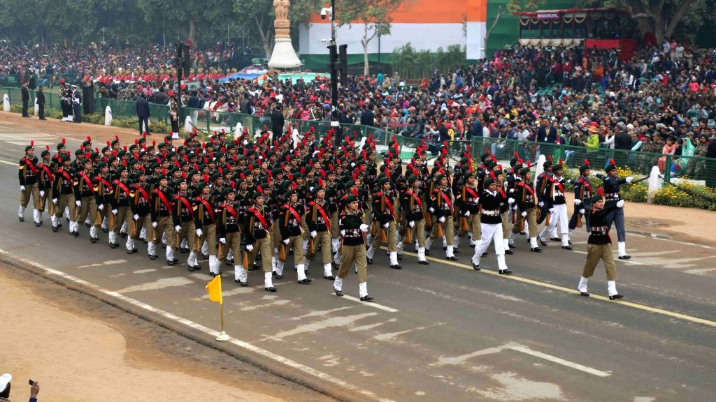 National Cadet Corps cadets girls' marching contingent passing through Rajpath during the full dress rehearsal for the Republic Day Parade 2018, in New Delhi on Jan 23, 2018.