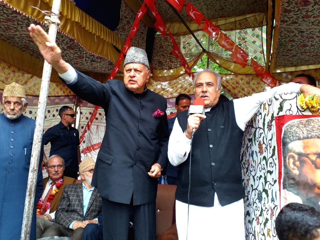 National Conference Chief Farooq Abdullah during a public rally in Jammu and Kashmir's Qazigund, on April 25, 2019.