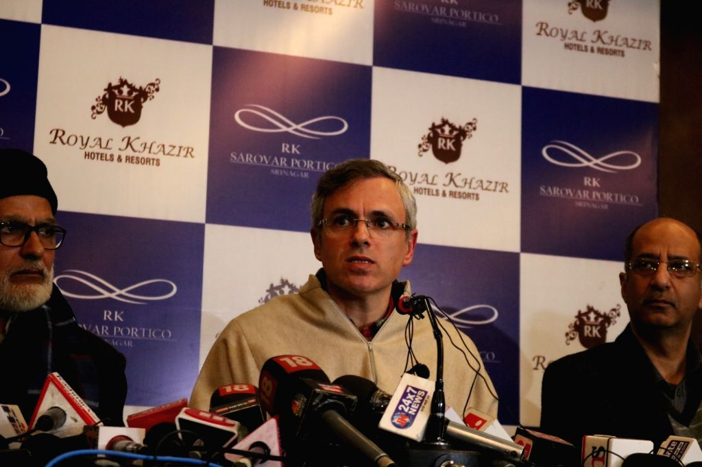 National Conference leader Omar Abdullah addressesa press conference in Srinagar on Feb 21, 2019.