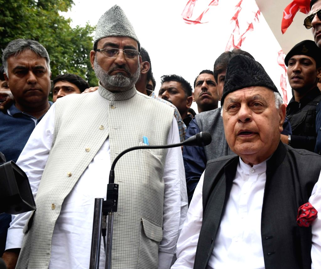 National Conference (NC) President Farooq Abdullah talks to the media during a programme organised to commemorate the 36th death anniversary of his father and NC founder, late Sheikh ...