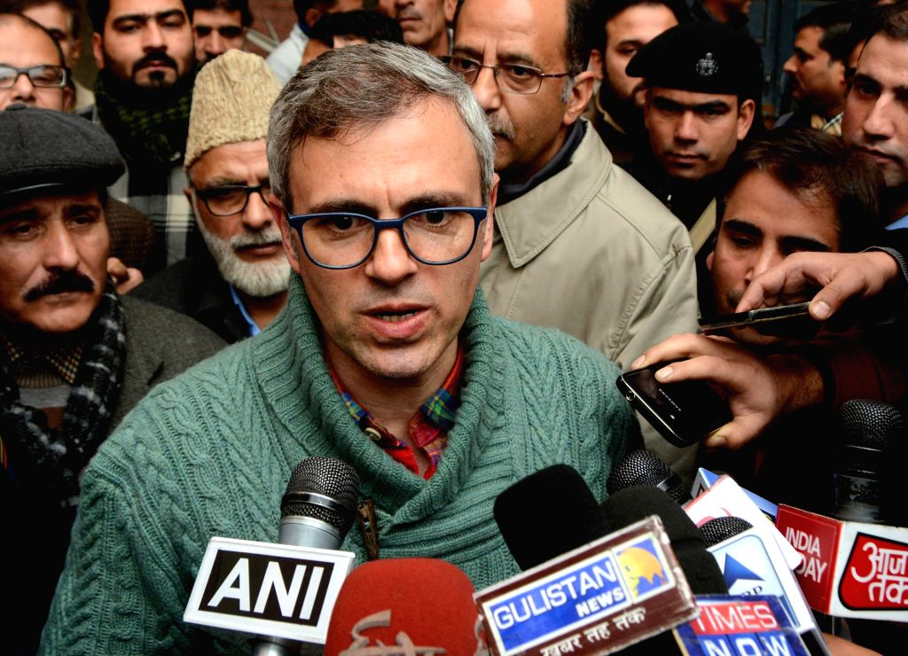 National Conference (NC) working president  Omar Abdullah talks to press in at party headquarters in Srinagar on Nov 30, 2016.