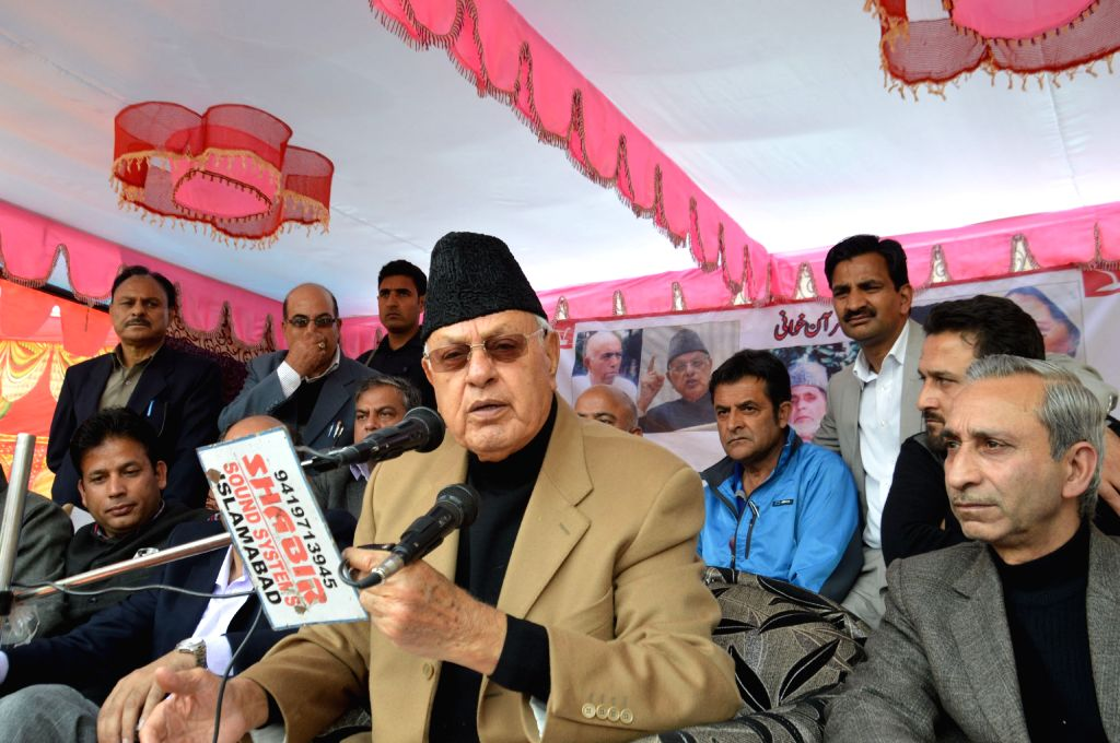 National Conference president Farooq Abdullah addresses during a party meeting in Anantnag of Jammu and Kashmir on April 21, 2016.
