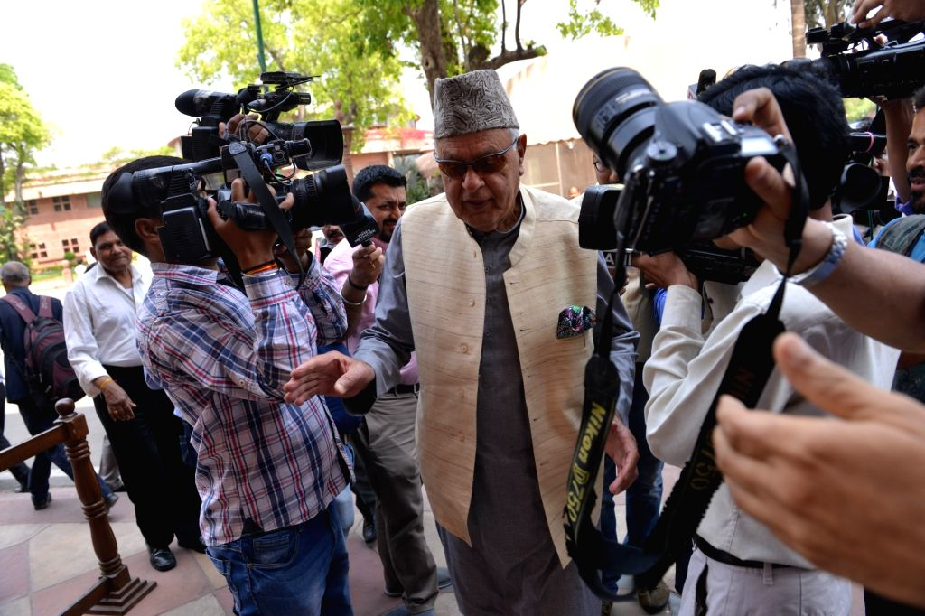 National Conference President Farooq Abdullah at Parliament in New Delhi, on April 2, 2018.