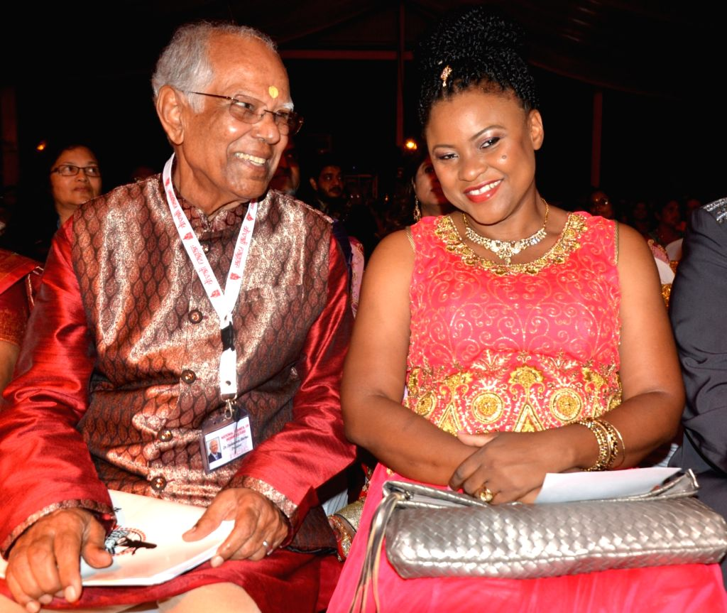 National Council of Indian Culture president Deokienanan Sharma and Minister of Community Development, Culture and the Arts Nyan Gadsby-Dolly at the inauguration of the 29th annual Divali Nagar ... - Deokienanan Sharma