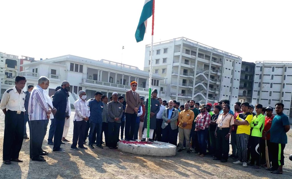 National flag unfurled at MIM party headquarter Darussalam , Hyderabad on 26 Jan 2021