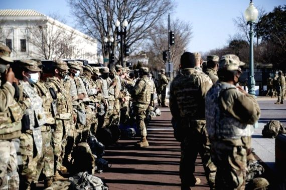 National Guard soldiers are seen on Capitol Hill in Washington, D.C., the United States, on Jan. 14, 2021.