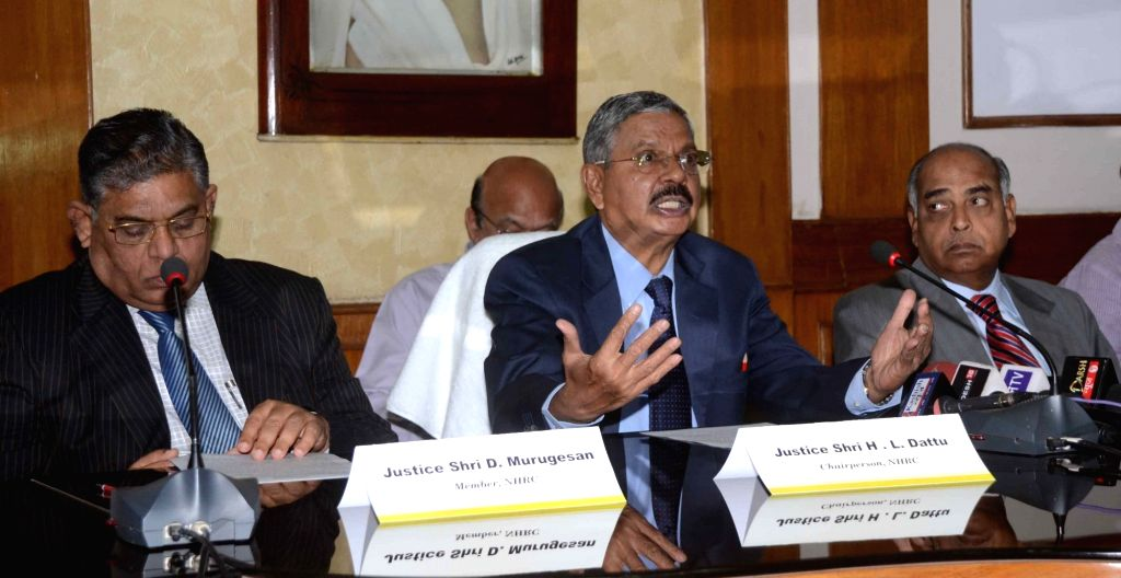 National Human Rights Commission (NHRC) Chairperson HL Dattu addresses a press conference in Patna on April 23, 2016.