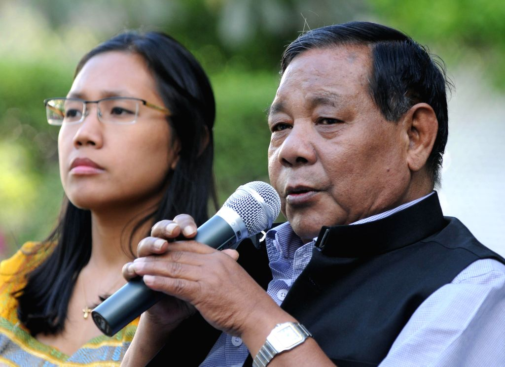 National People's Party (NPP) president P A Sangma and his daughter Agatha K Sangma address a press conference at his residence in New Delhi on March 19, 2014. (Photo: IANS)