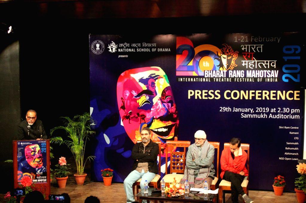 National School of Drama (NSD) Director In-charge Suresh Sharma addresses during the press conference regarding 20th Bharat Rang Mahotsav in New Delhi on Jan 29, 2019. - Suresh Sharma