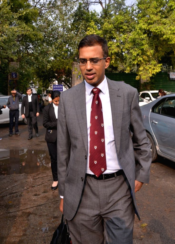 National Security Advisor (NSA) Ajit Doval's son Vivek Doval outside Patiala House Court in New Delhi on Jan 22, 2019. The court took cognizance of a defamation complaint filed by Doval ...
