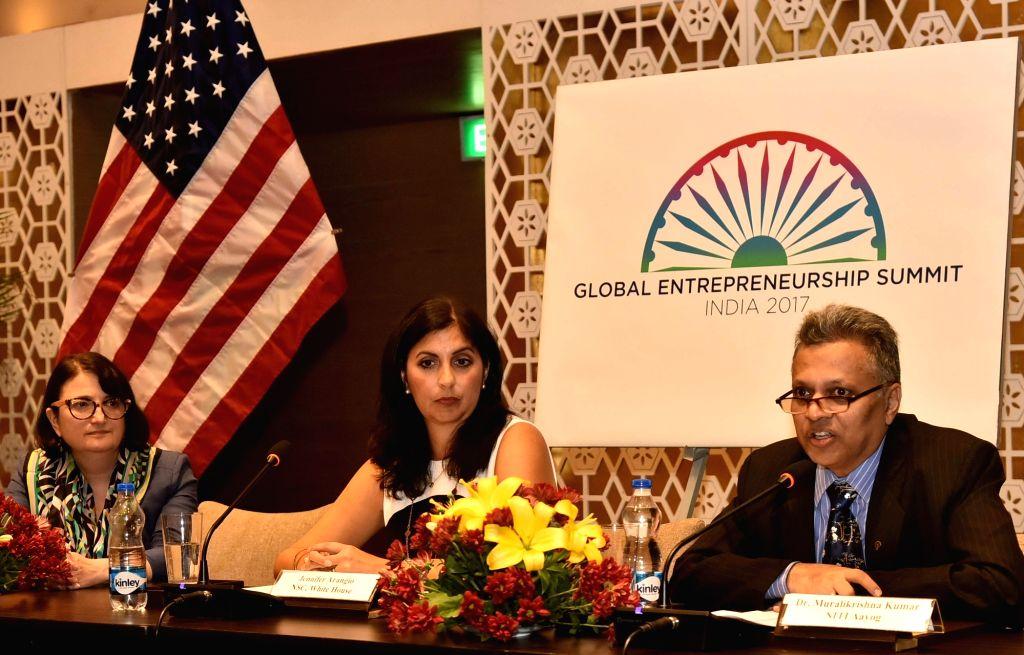 National Security Council (NSC) Senior Director Jennifer Arangio, NITI Aayog Senior Advisor C. Muralikrishna Kumar and US Consul-General in Hyderabad Katherine Hadda during a press ...