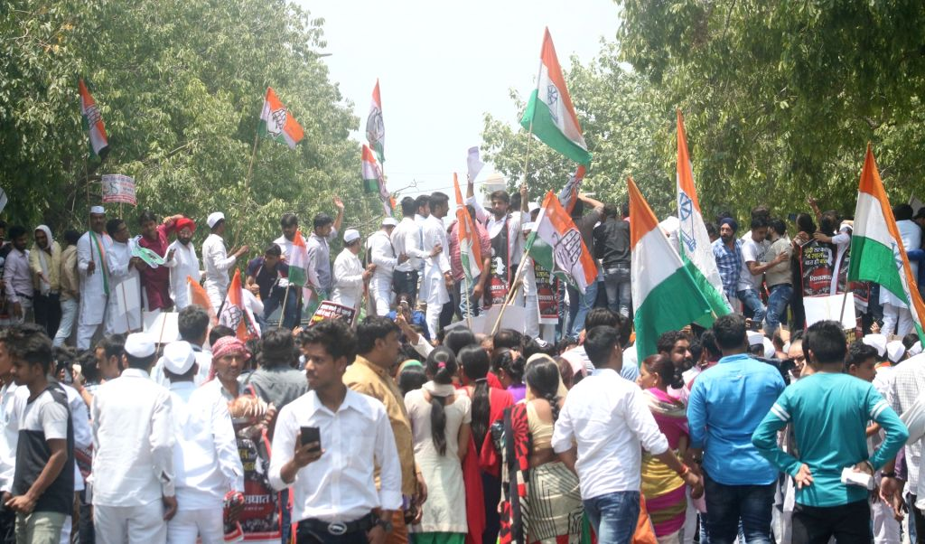 National Students' Union of India (NSUI) activists stage a demonstration against BJP on the occasion of 4th anniversary of the Narendra Modi government, in New Delhi on May 26, 2018. - Narendra Modi