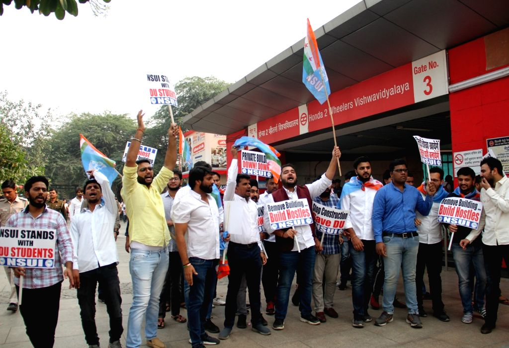 National Students' Union of India (NSUI) members stage a demonstration against the proposed construction of a 39-storey building near North Campus, in New Delhi on Nov 12, 2019.
