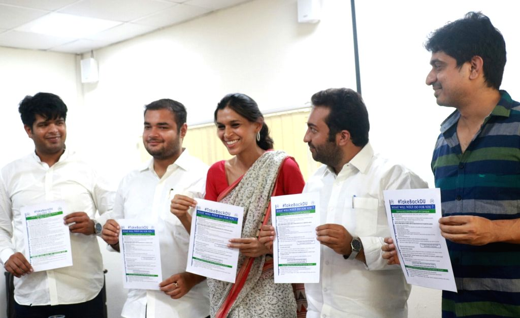 National Students Union of India (NSUI) national president Fairoz Khan, NSUI office incharge from All India Congress Committee (AICC) Ruchi Gupta along with other student leaders during ... - Fairoz Khan and Ruchi Gupta