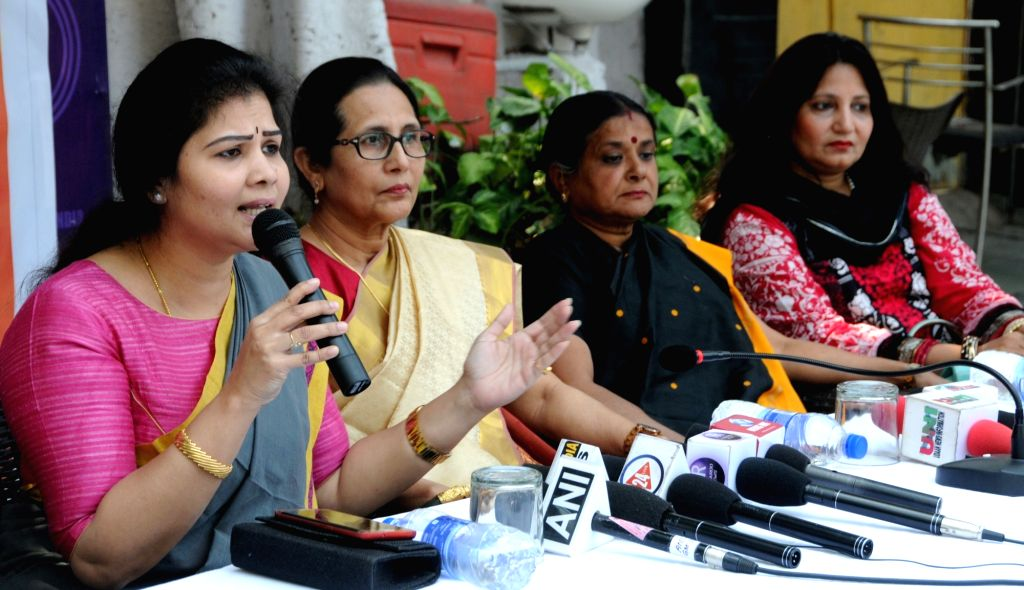 National Women's Party (NWP) leader Shweta Shetty addresses a press conference in New Delhi, on March 9, 2019. - Shweta Shetty