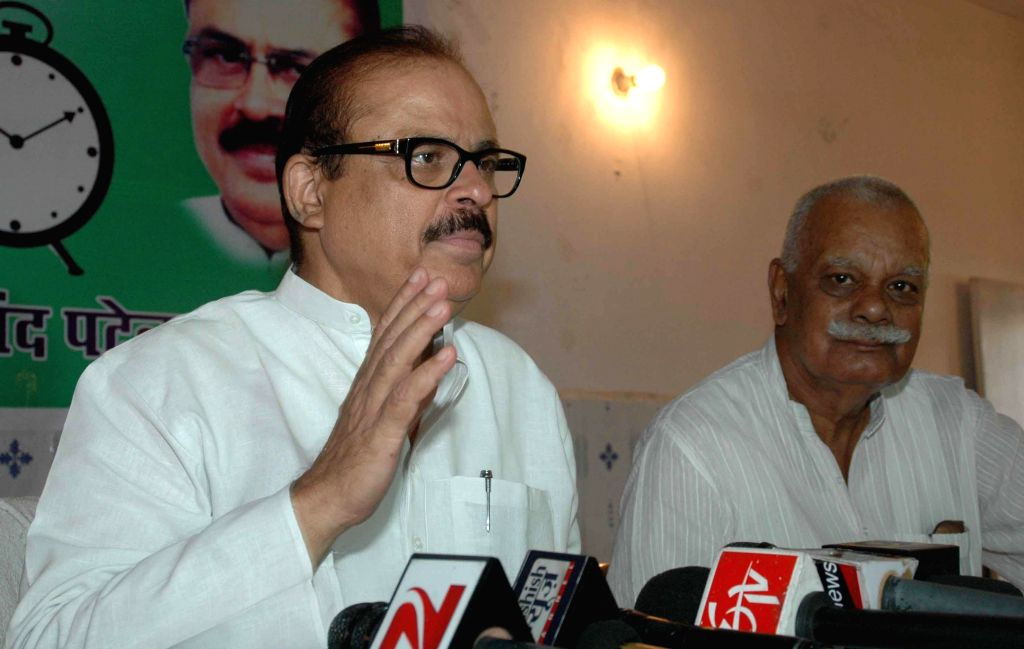 Nationalist Congress Party (NCP) leader Tariq Anwar addressing a press confrence at NCP office in Patna on Aug. 9, 2014.