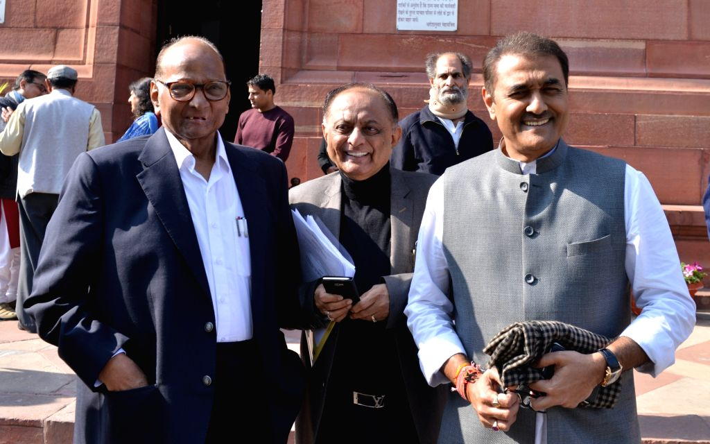 Nationalist Congress Party (NCP) MPs Sharad Pawar, Majeed Memon and Praful Patel at Parliament in New Delhi, on Feb 4, 2019. - Praful Patel