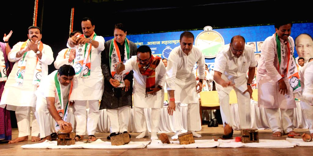 Nationalist Congress Party President Sharad Pawar inaugurates assembly election campaign with party leaders Praful Patel, Sunil Tatkare, Chagan Bhujbal, Ajit Pawar and others at Y B Chavan ... - Praful Patel