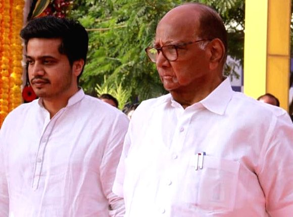 : Nationalist Congress Party President Sharad Pawar and his  grand-nephew, Rohit Pawar.