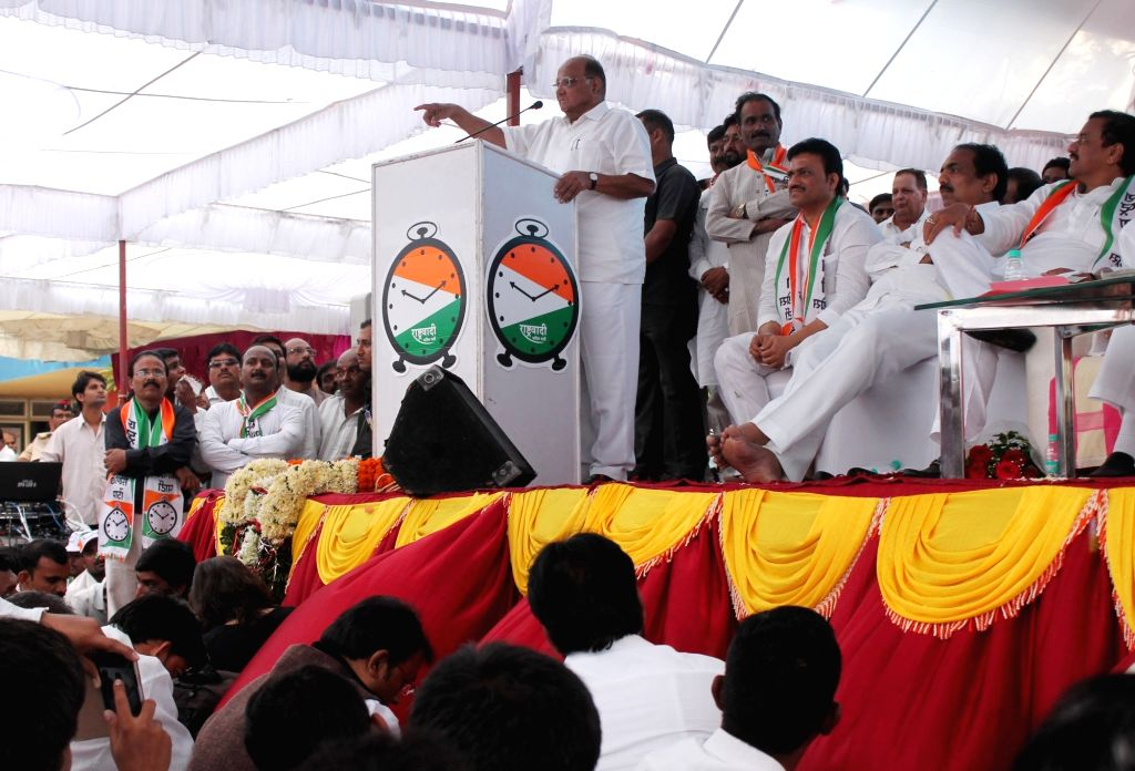 Nationalist Congress Party Sharad Pawar during a party meeting in Nagpur, on Oct 6, 2016.