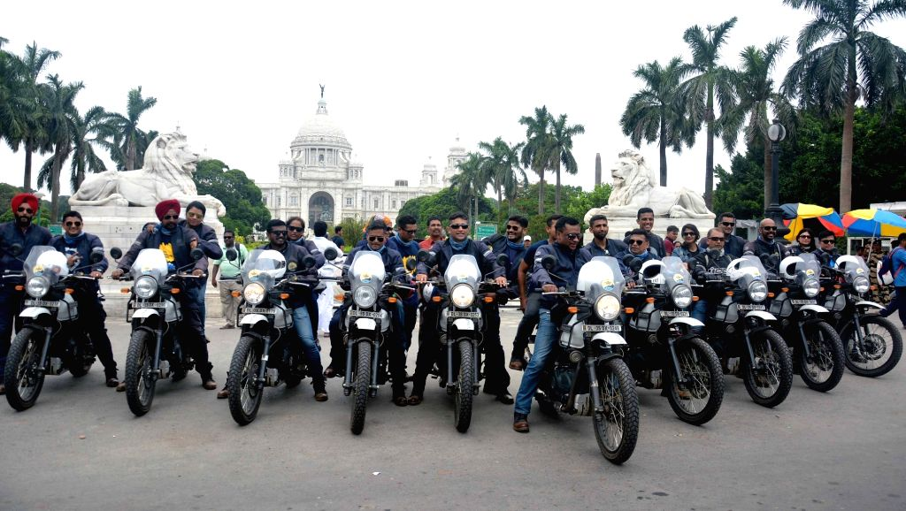 Naval bikers arrive after completing the first leg of motorcycle expedition organised by Indian Navy as part of Golden Jubilee Celebrations of the Western Naval Command, in Kolkata on May ...