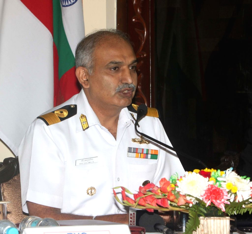 Naval Officer-in-Charge (WBG) Commodore Ravi Ahluwalia addressing the media on the occasion of Navy Day-2015  at Navy House, Hastings in Kolkata on Dec 3, 2015.