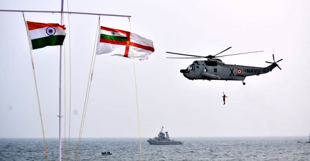 Naval officers display their skills during Naval operational demonstration on occasion of the Navy Day at RK Beach in Andhra Pradesh's Visakhapatnam on Dec 5, 2019.