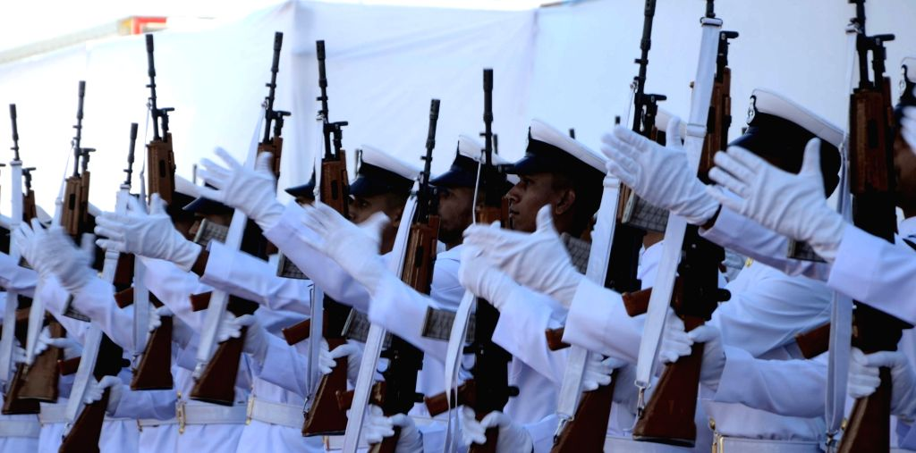 Naval personnel at the commissioning ceremony of INS Chennai, a guided missile destroyer at Naval Dockyard in Mumbai on Nov. 21, 2016. INS Chennai will be placed under the operational and ...