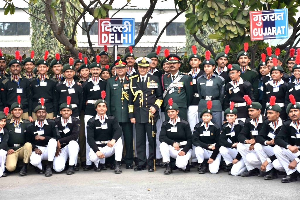 Navy Chief Admiral Sunil Lanba during his visit to the NCC Republic Day Camp at Cariappa Parade Ground, Delhi Cantt, on Jan 21, 2019. Also seen Director General National Cadet Corps (DG ... - P P Malhotra