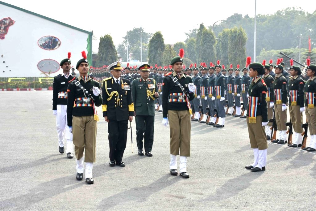 Navy Chief Admiral Sunil Lanba inspects the Guard of Honour during his visit to the NCC Republic Day Camp at Cariappa Parade Ground, Delhi Cantt, on Jan 21, 2019. Also seen Director ... - P P Malhotra